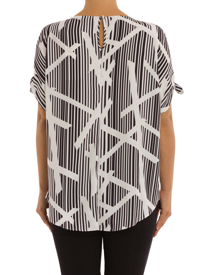 Elbow Tie Sleeve Bamboo Print Top image 3