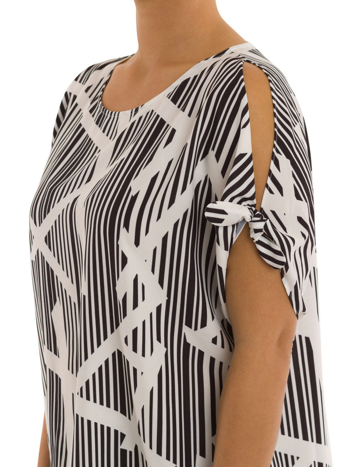 Elbow Tie Sleeve Bamboo Print Top image 4