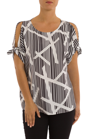 PINGPONG - Elbow Tie Sleeve Bamboo Print Top