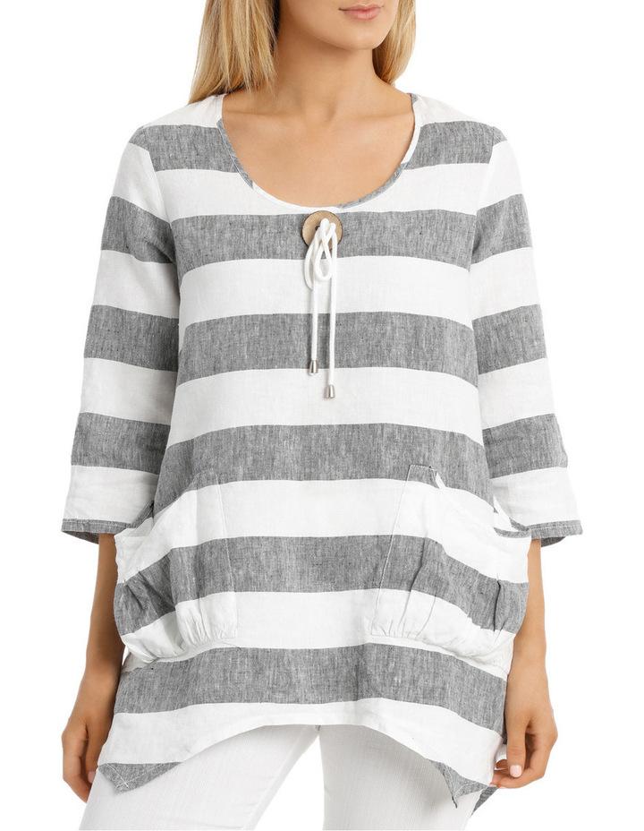 3/4 Sleeve Block Stripe Swing Top image 1