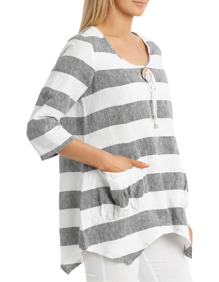 3/4 Sleeve Block Stripe Swing Top image 2