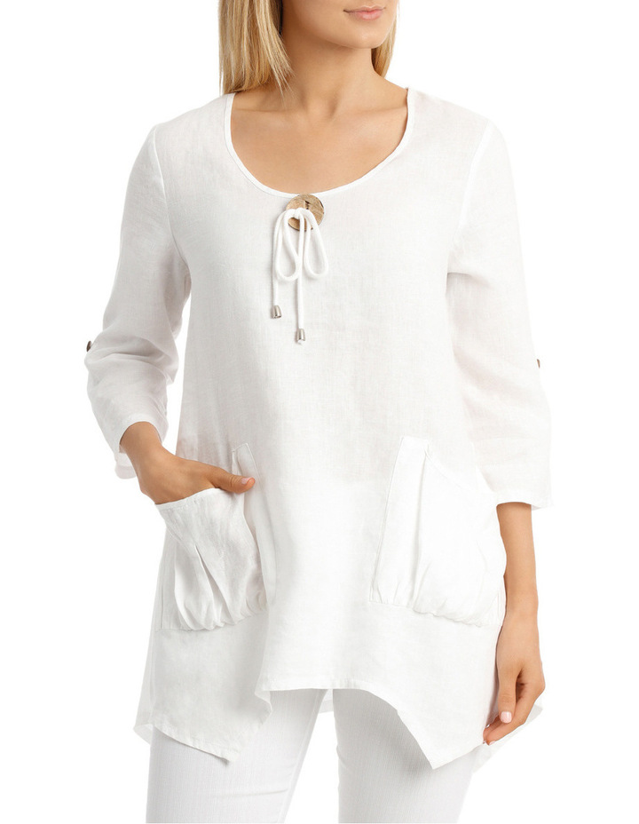 3/4 Sleeve Coconut Button Tunic Top image 1