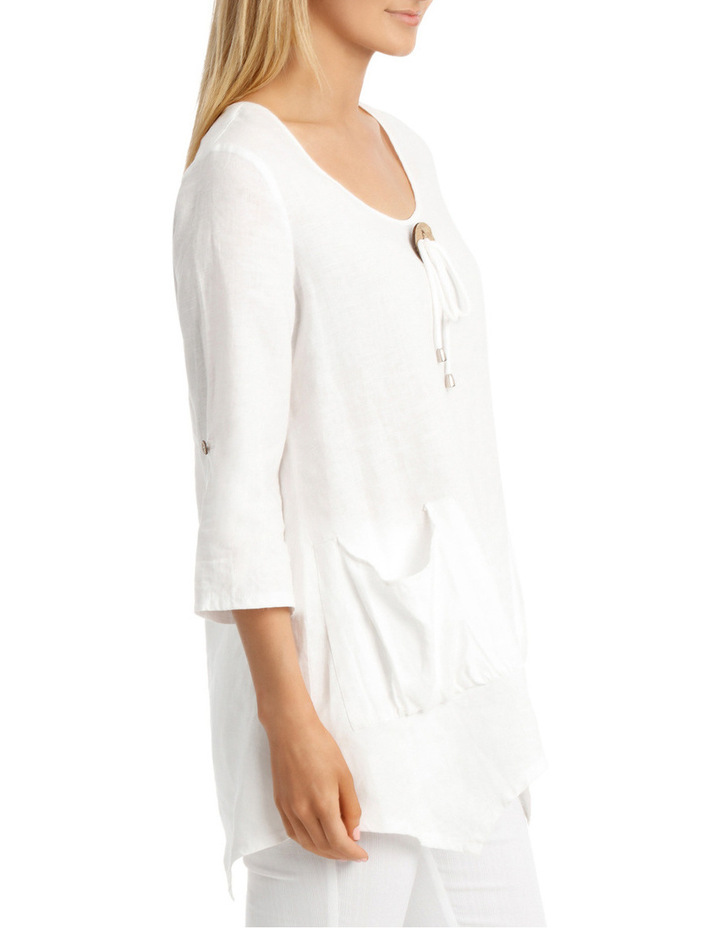 3/4 Sleeve Coconut Button Tunic Top image 2