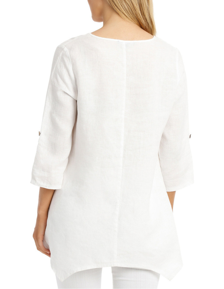 3/4 Sleeve Coconut Button Tunic Top image 3