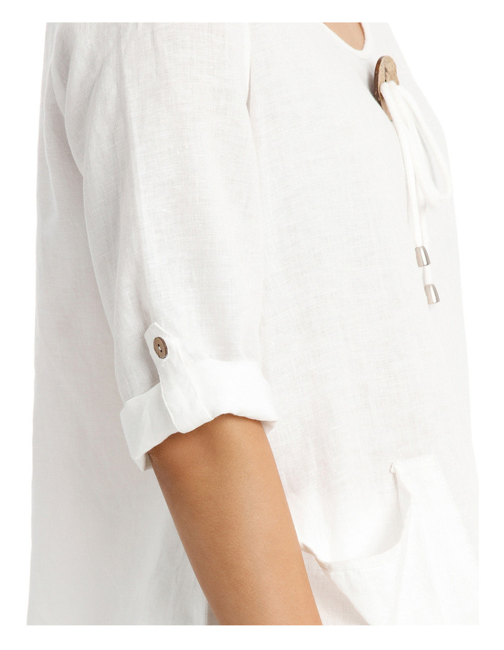 3/4 Sleeve Coconut Button Tunic Top image 4