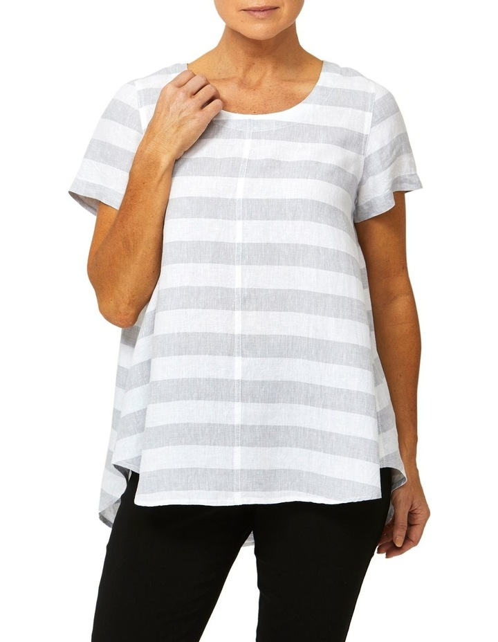 Short Sleeve Stripe Linen Top image 1