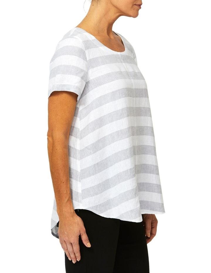 Short Sleeve Stripe Linen Top image 2