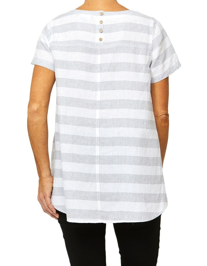 Short Sleeve Stripe Linen Top image 3