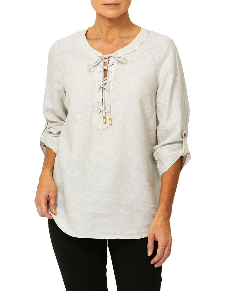 Lace Up Linen Top image 1
