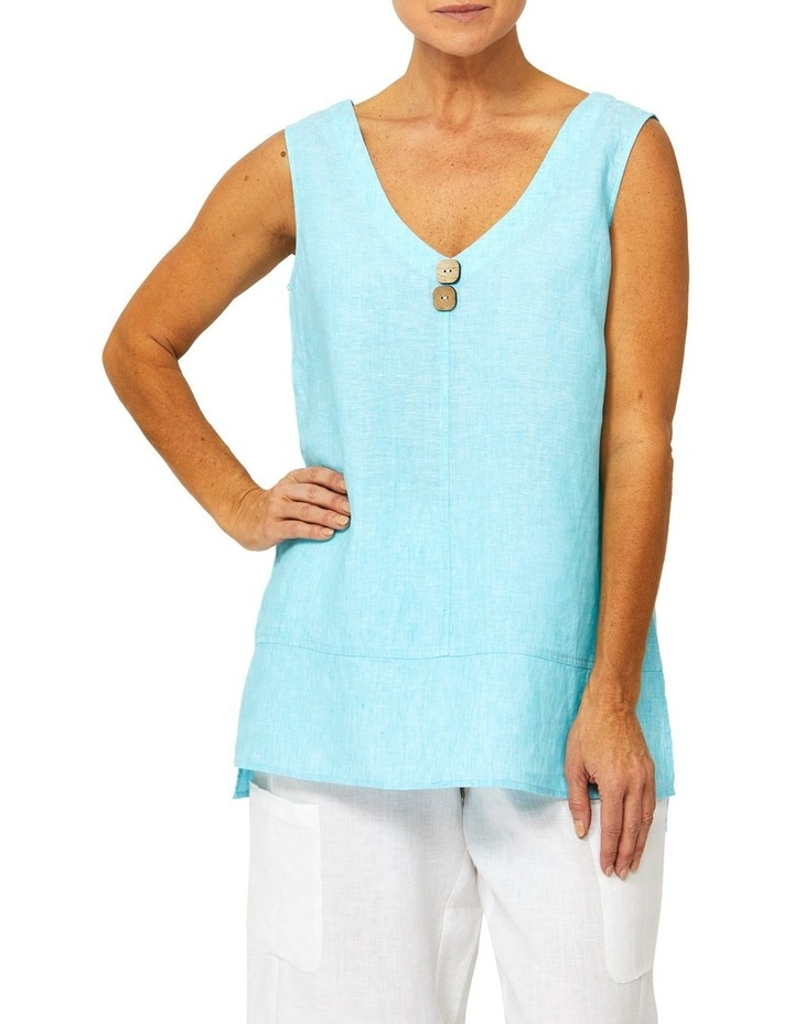 Sleeveless Button Front Linen Top image 1