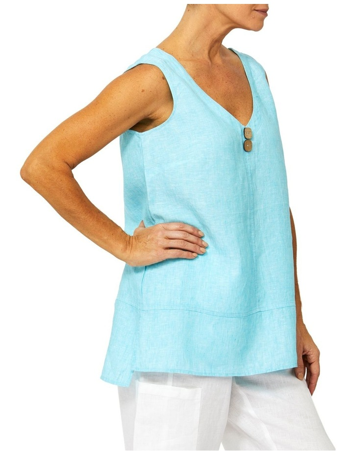 Sleeveless Button Front Linen Top image 2