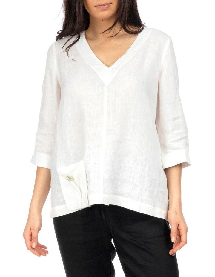 3/4 Sleeve V-Neck Linen Top image 1