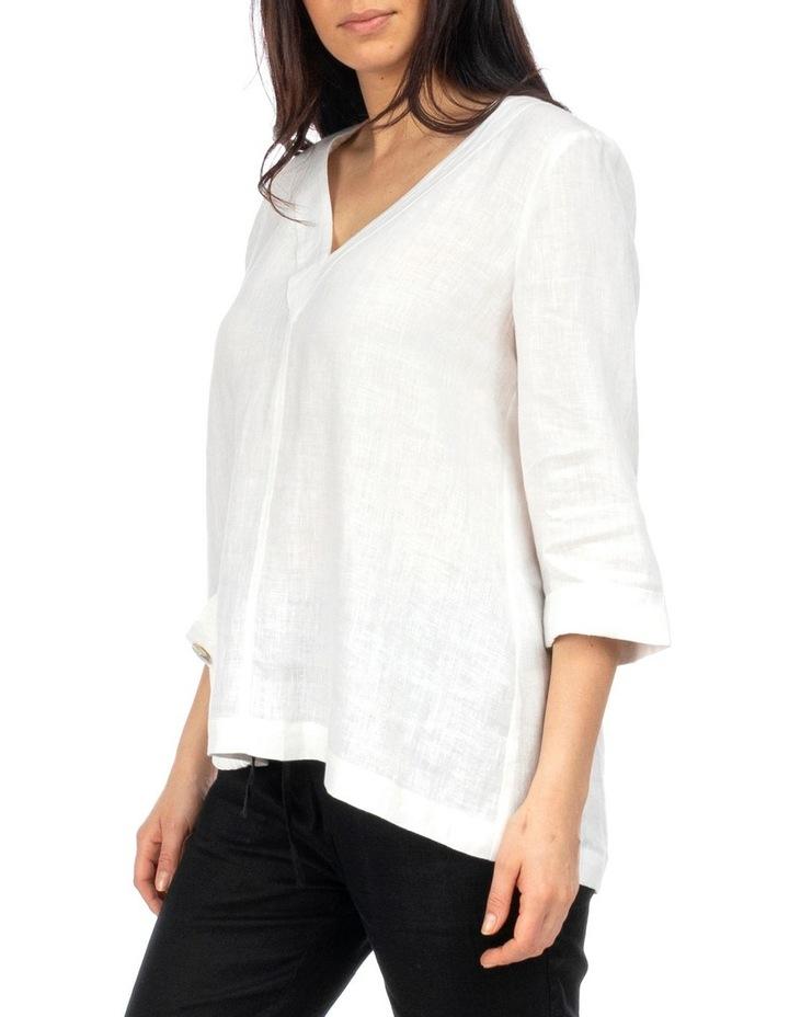 3/4 Sleeve V-Neck Linen Top image 2