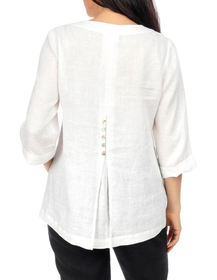 3/4 Sleeve V-Neck Linen Top image 3