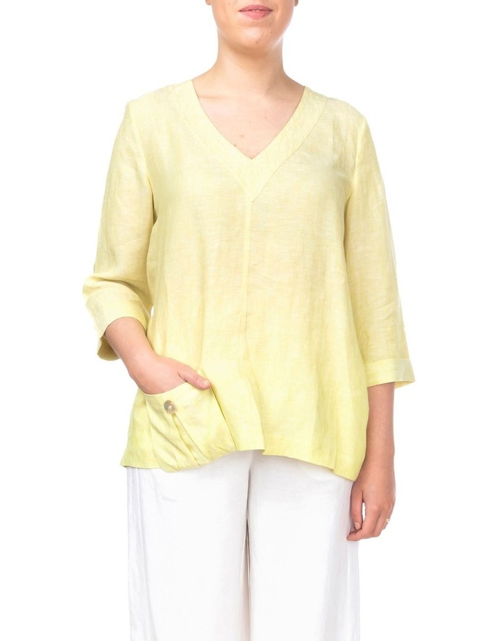 3/4 Sleeve V-Neck Linen Top image 1