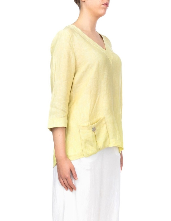 3/4 Sleeve V-Neck Linen Top image 2