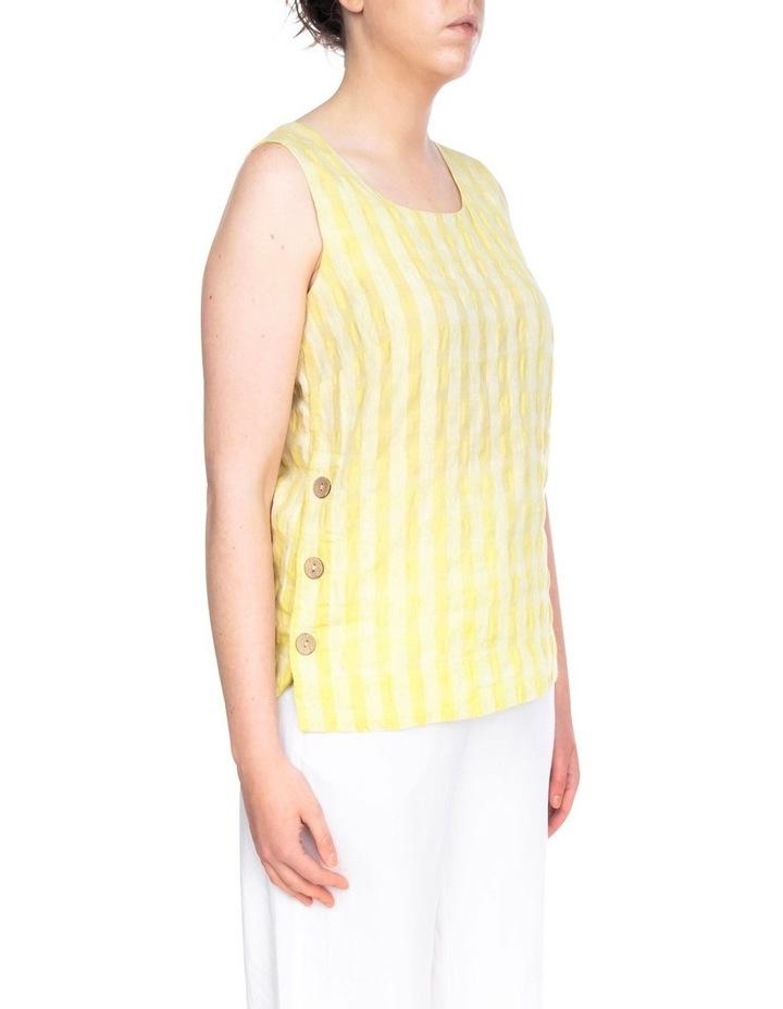 Sleeveless Side Button Textured Linen Top image 2