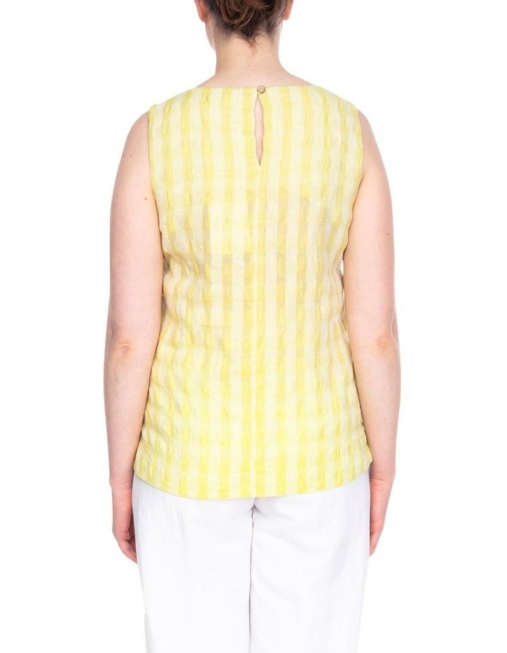 Sleeveless Side Button Textured Linen Top image 3