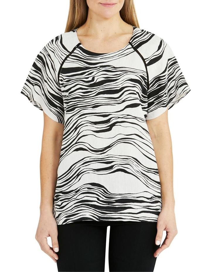 Linen Short-Sleeve Wave Print Top Black image 1
