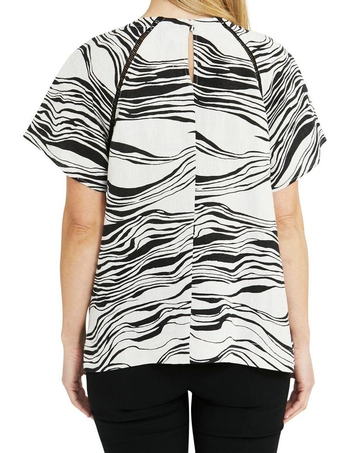 Linen Short-Sleeve Wave Print Top Black image 2