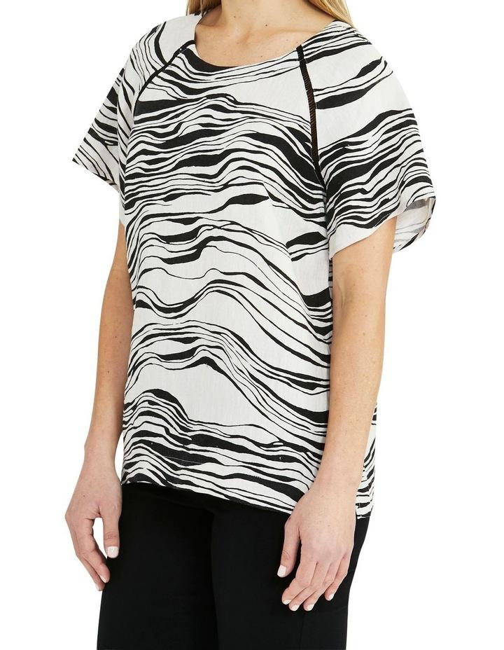 Linen Short-Sleeve Wave Print Top Black image 3