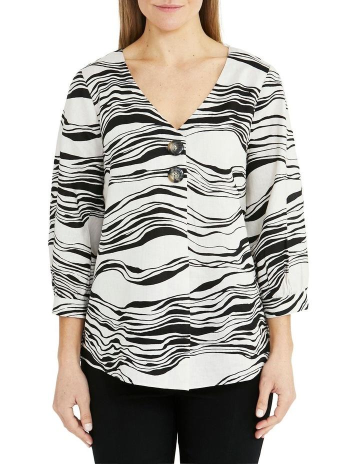 Linen 3/4 Sleeve V-Neck Wave Print Top Black/White image 1