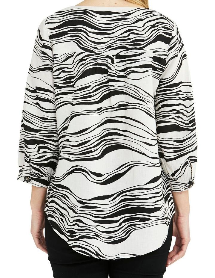Linen 3/4 Sleeve V-Neck Wave Print Top Black/White image 2