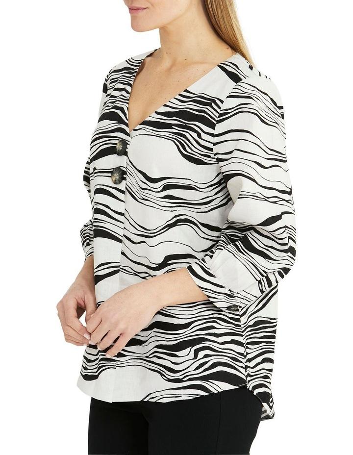 Linen 3/4 Sleeve V-Neck Wave Print Top Black/White image 3