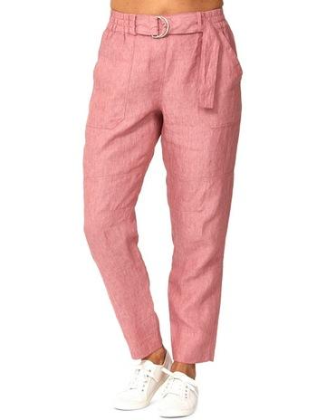pink shirt and khaki pants
