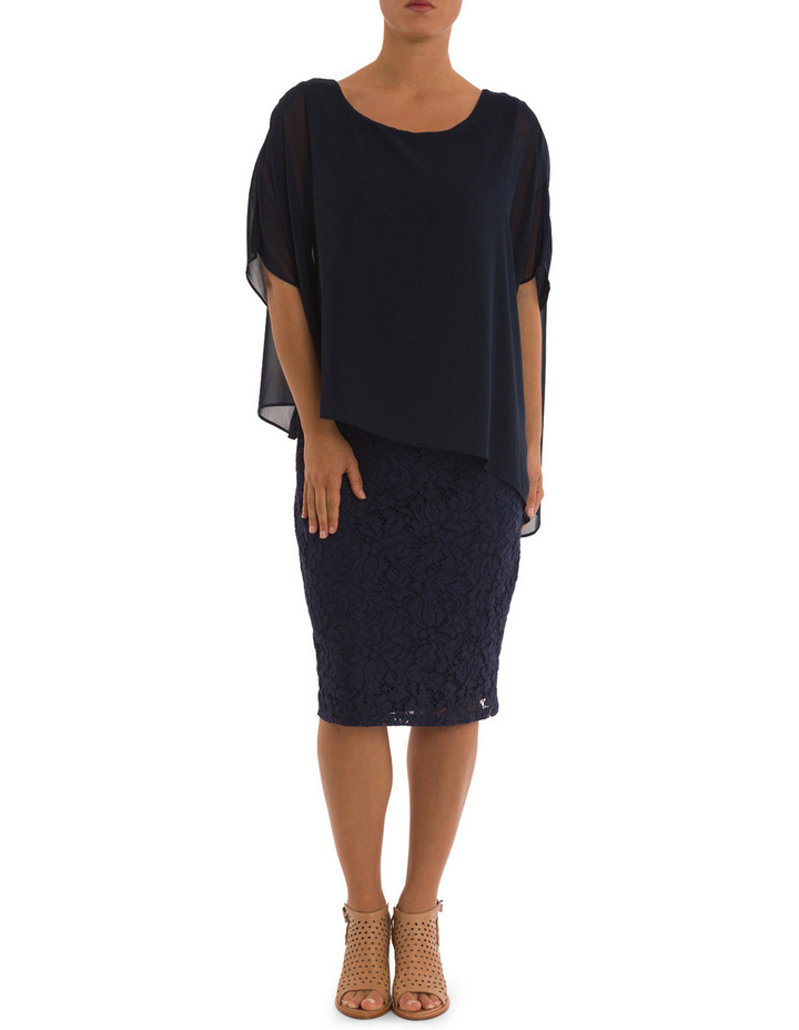 Lace Shift Dress With Overlay image 1
