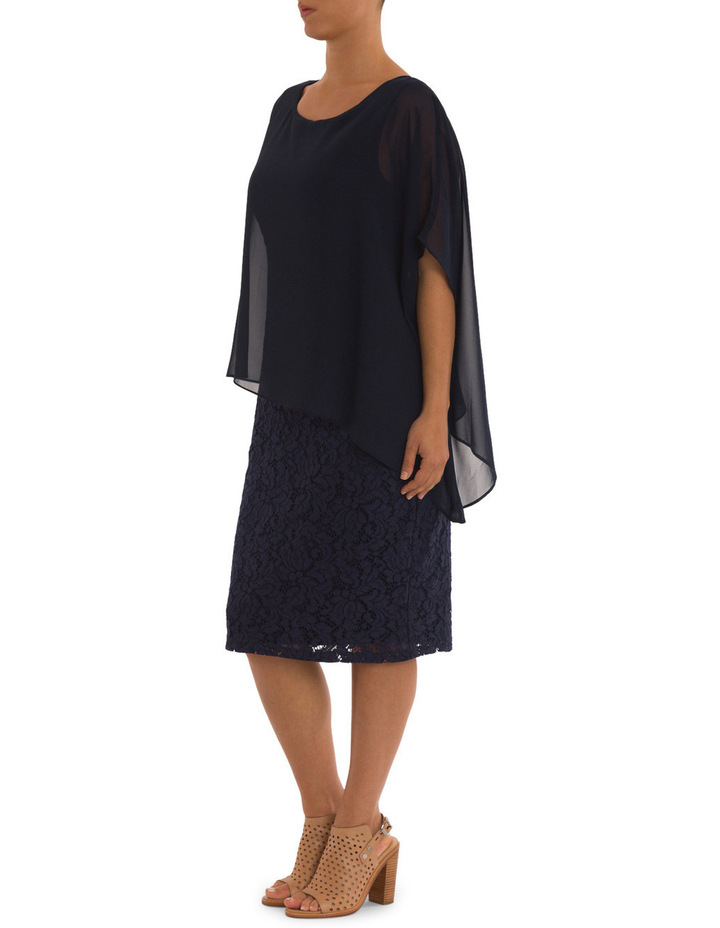 Lace Shift Dress With Overlay image 3