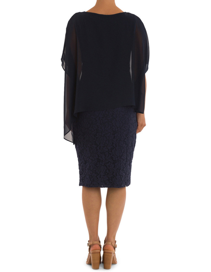 Lace Shift Dress With Overlay image 4