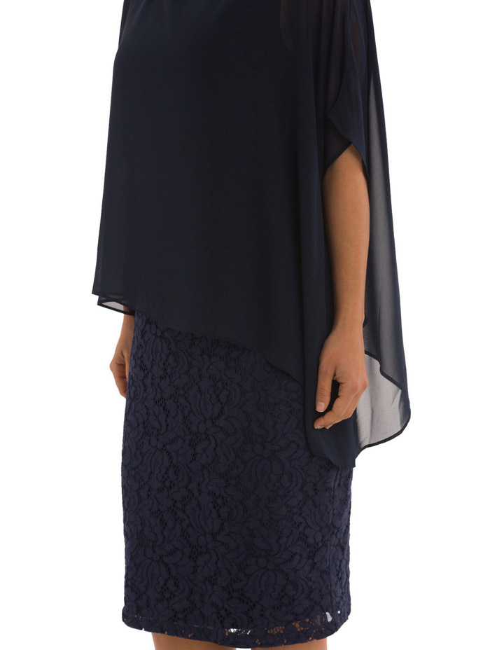 Lace Shift Dress With Overlay image 5