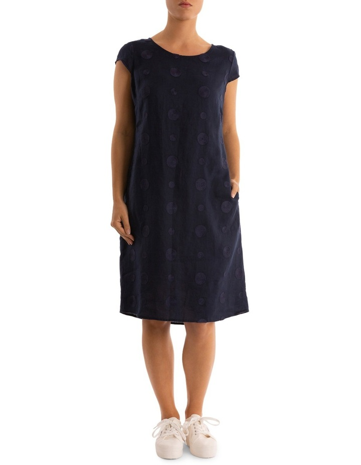 Embroidered Spot Linen Dress image 1