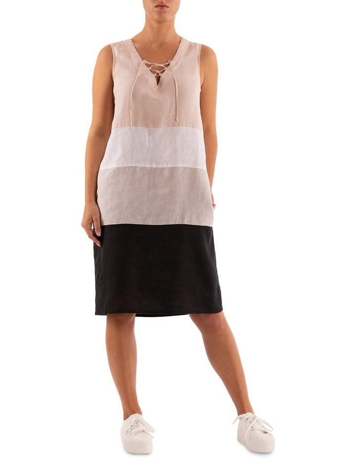 Sleeveless Colour Block Linen Dress image 1
