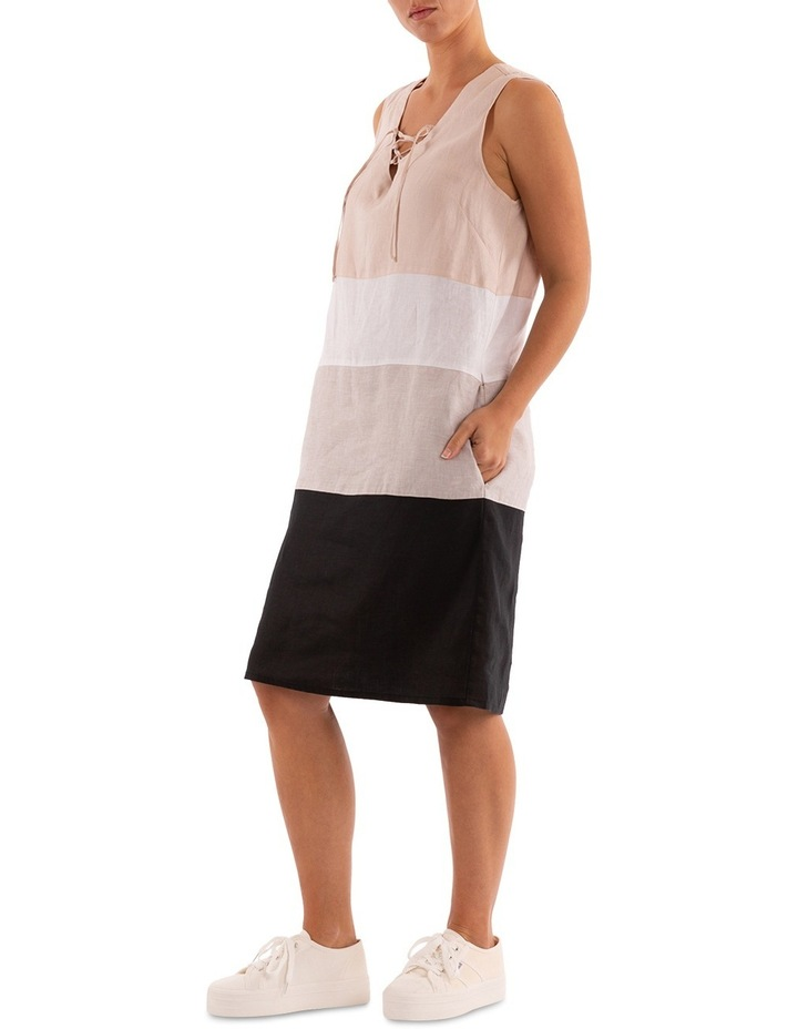 Sleeveless Colour Block Linen Dress image 2