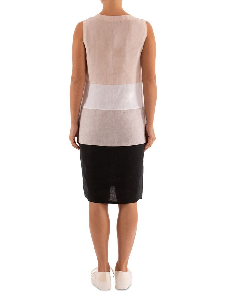Sleeveless Colour Block Linen Dress image 3
