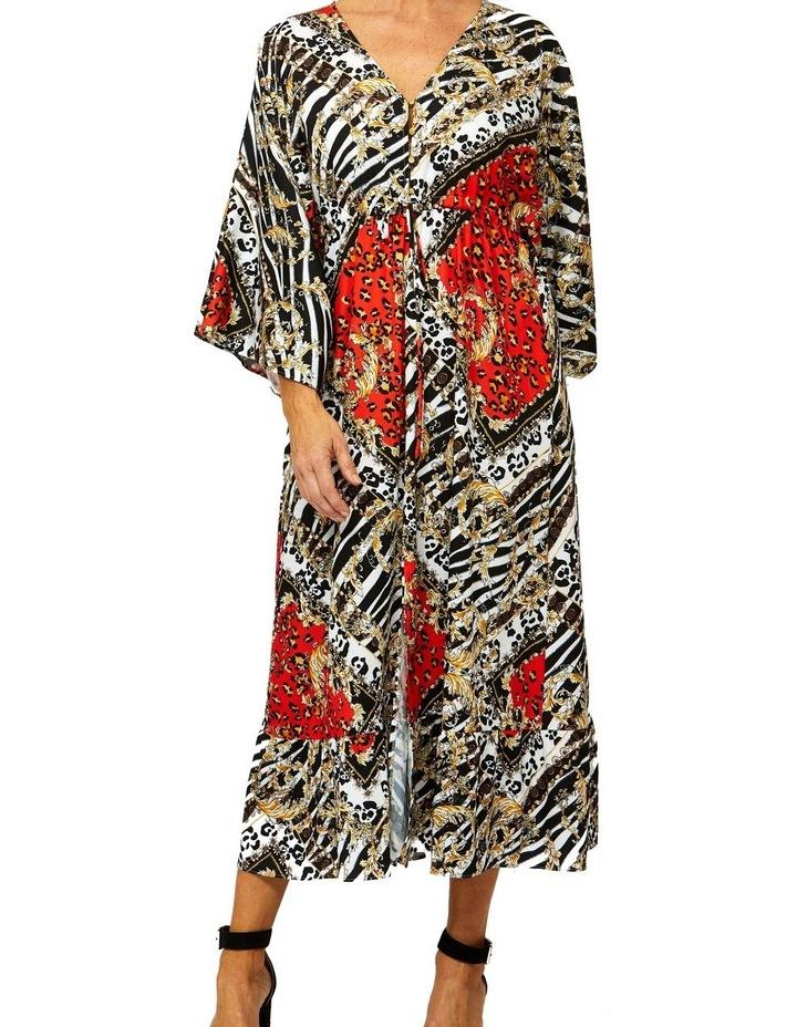 Scarf Print Dress V-Neck Dress image 1