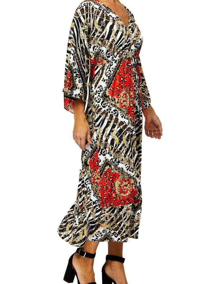 Scarf Print Dress V-Neck Dress image 2