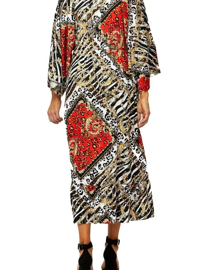 Scarf Print Dress V-Neck Dress image 3