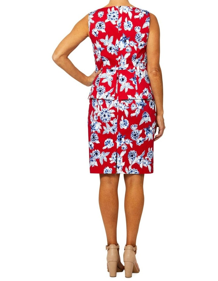 Sleeveless Peplum Oriental Print Dress image 3