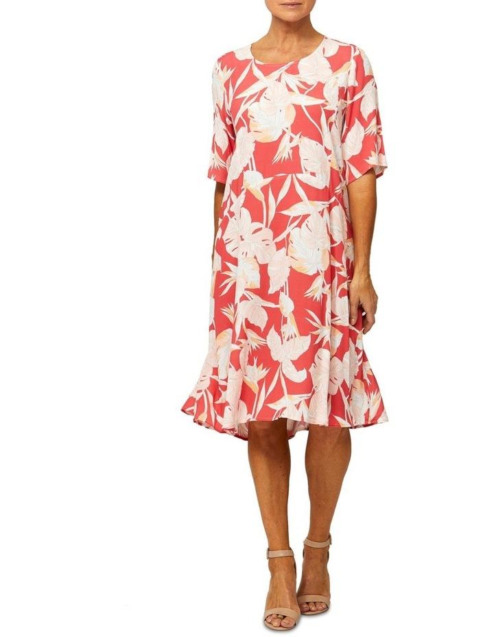 Short Sleeve Paradise Print Dress image 1