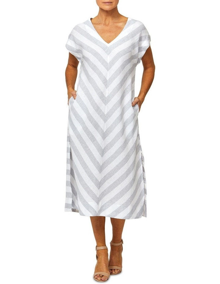 Drop Shoulder Stripe Linen Dress image 1
