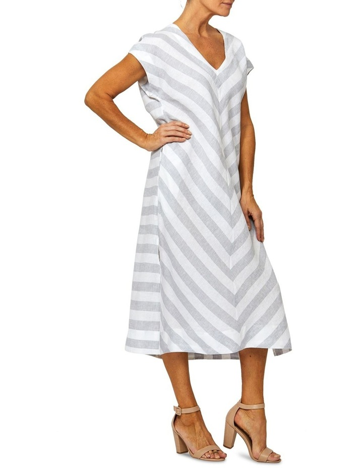 Drop Shoulder Stripe Linen Dress image 2