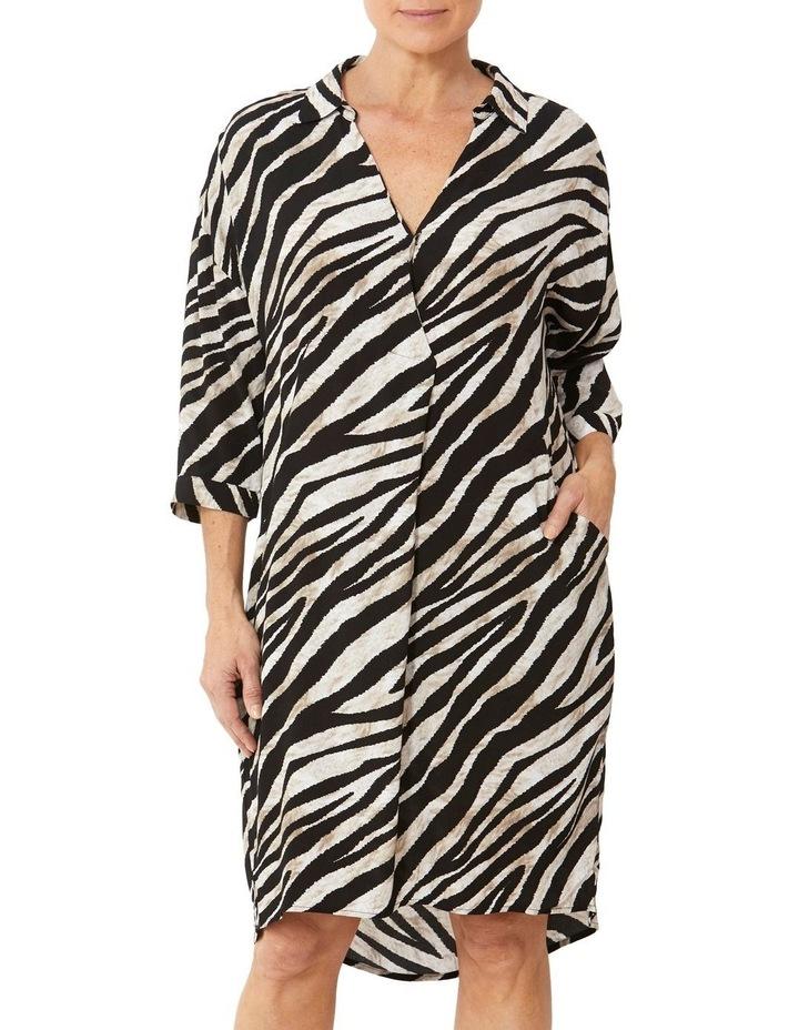 Drop Shoulder Abstract Zebra Dress image 1