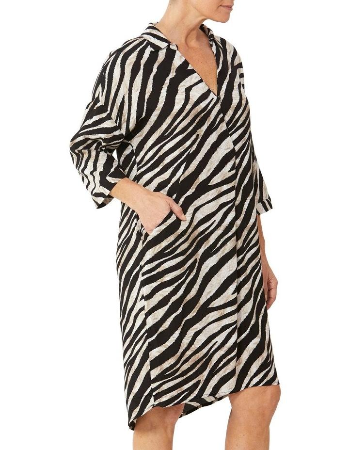 Drop Shoulder Abstract Zebra Dress image 2