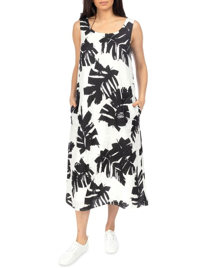 Sleeveless Mono Palm Print Dress image 1