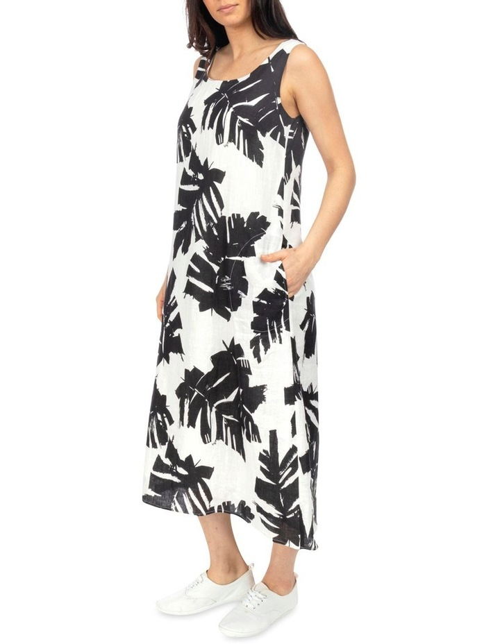 Sleeveless Mono Palm Print Dress image 2