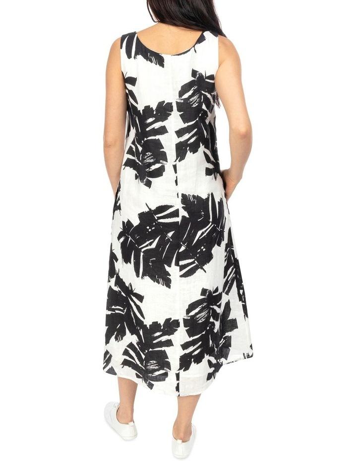 Sleeveless Mono Palm Print Dress image 3