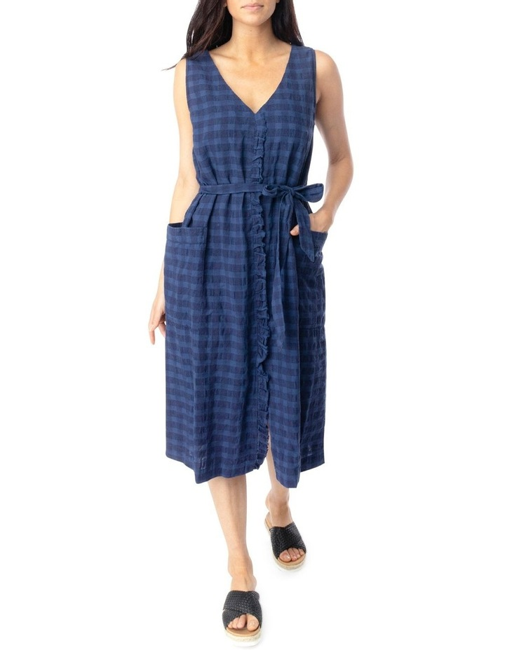 Slv Frill Front Linen Textured Dress image 1